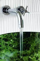 Water in vessel sink
