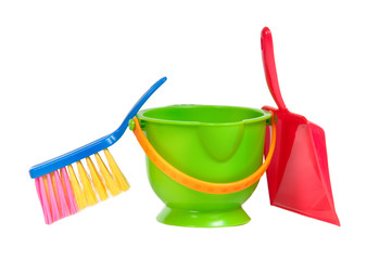 Group of tools for cleaning (dustpan, bucket and brush) isolated
