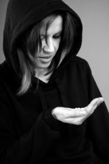 depressive woman studying pills