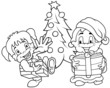 Children Christmas - Black and White Cartoon illustration