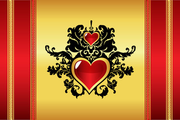 Beautiful oriental heart background vector