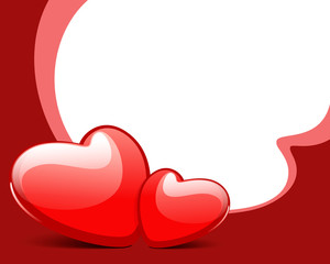 Two red glossy hearts Valentine's day vector background