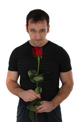 man with a rose apologizes