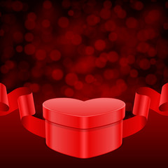 Valentine's day background gift heart with ribbon and light