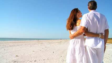 Couple Standing Quietly Together on the Beach filmed 60FPS