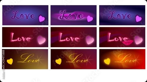 sześć kompozycji z napisem love miłość