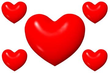 fünf Herzen
