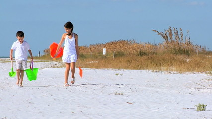 Happy Children Having Fun on the Beach