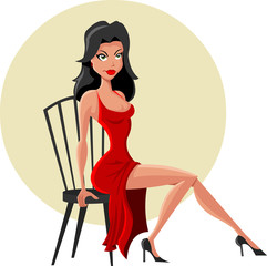 Beautiful cartoon woman seated on chair wearing red dress
