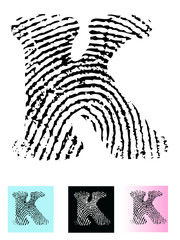 Fingerprint Alphabet - letter K