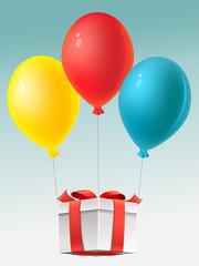 Gift and balloons