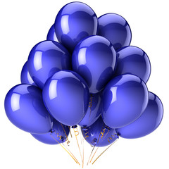 Blue balloons. Party shiny decoration. Joyful fun concept