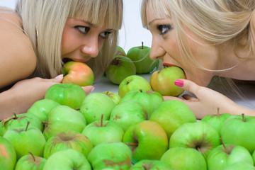 Two girls and Apples