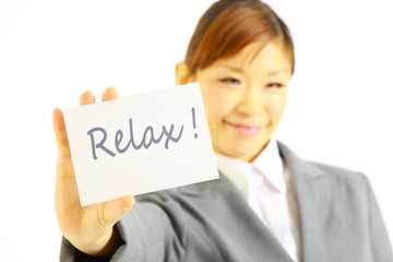 "buisiness woman with ""relax"""