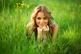 blonde on grass