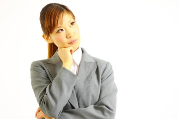 buisiness woman thinks about something