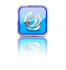 Email Button, blau, eckig mit Spiegelung