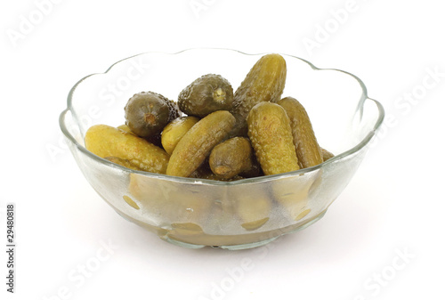 Small Sweet Dill Pickles in Dish