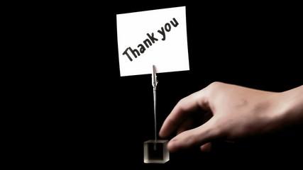 thank you. written on white