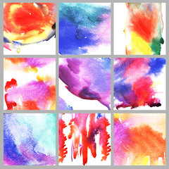 Set of abstract hand drawn watercolor