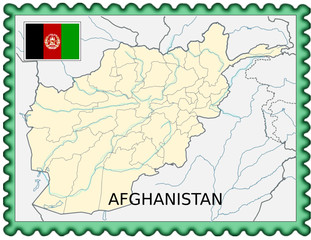 Afghanistan national emblem map coat flag business background