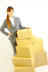 buisiness woman with Cardboard boxes