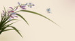 oriental style painting, flowers and butterfly