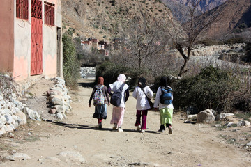 Moroccan little girls walking to school