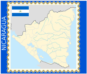 Nicaragua national emblem map coat flag business background