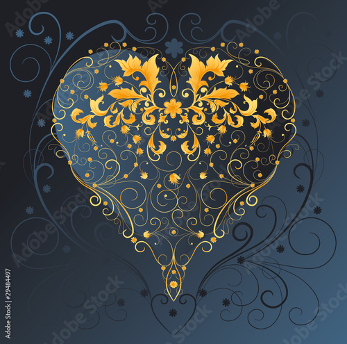 Background with a decorated heart