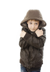 Freezing boy. Isolated on white background