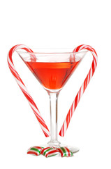 red martini with christmas candies