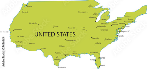 Map of United states of America with major cities, vector