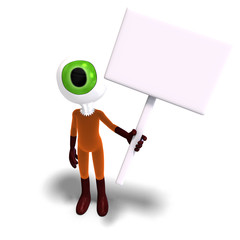 funny and cute cartoon guy with a great eye. 3D rendering with