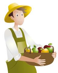 paysan-panier de pommes
