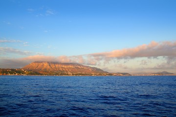 montgo mountain in blue Mediterranean dea Denia