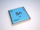 Tin chemical element of the periodic table with symbol Sn poster