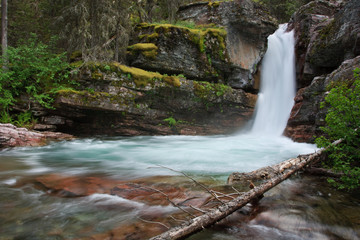 Narrow Waterfall in Glacier National Park.