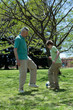 Grandfather and grandson playing