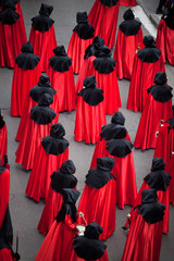 Nazarenos procession in Holy Week. Valladolid, Spain