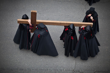 Nazarenos carrying the Holy Cross in Holy Week. Valladolid