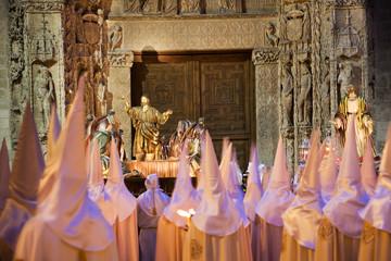 Nazarenos parade in Holy Week. Valladolid, Spain