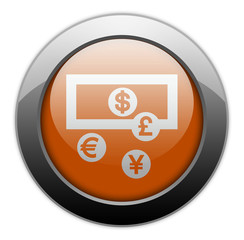 "Orange Metallic Orb Button ""Currency Exchange"""