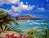 waikiki beach and diamond head in hawaii - Fine Art prints