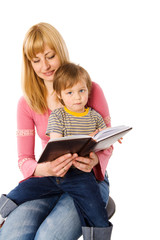 Mother reading book
