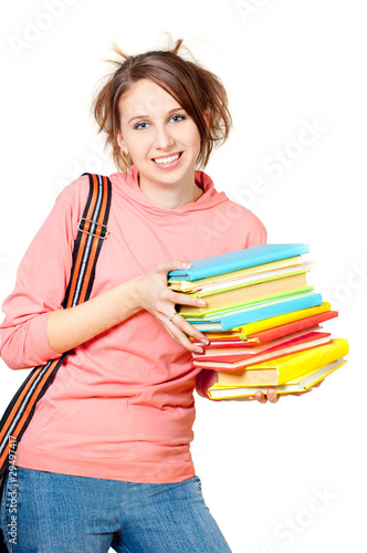 The girl with a heap of books