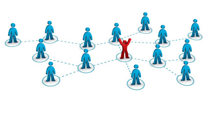 business network with one person connected to the rest