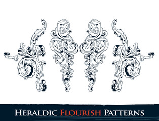 Set of heraldic flourish  patterns