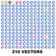 Collection of 210 pictos glossy icons web 2.0