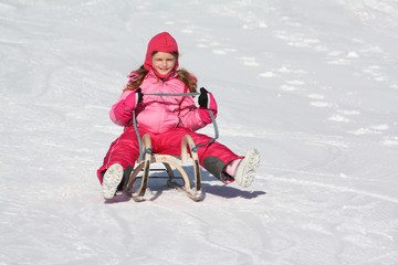 girl on the sled